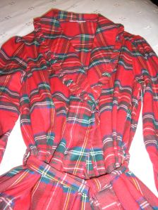 vintage red plaid housecoat