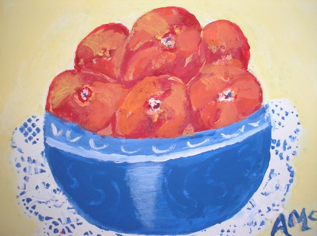 Peaches in a Blue Bowl - AMc 2017