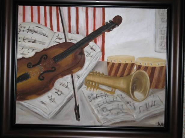 Violin and Horn - AMc - Oil - 1990
