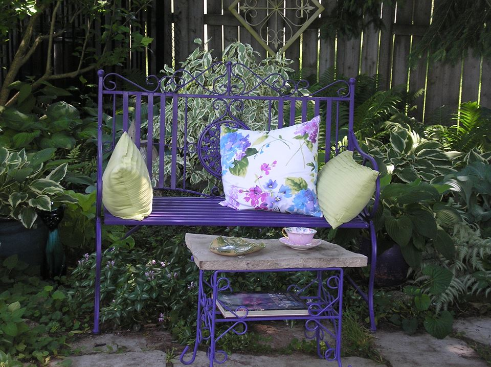 purple garden bench