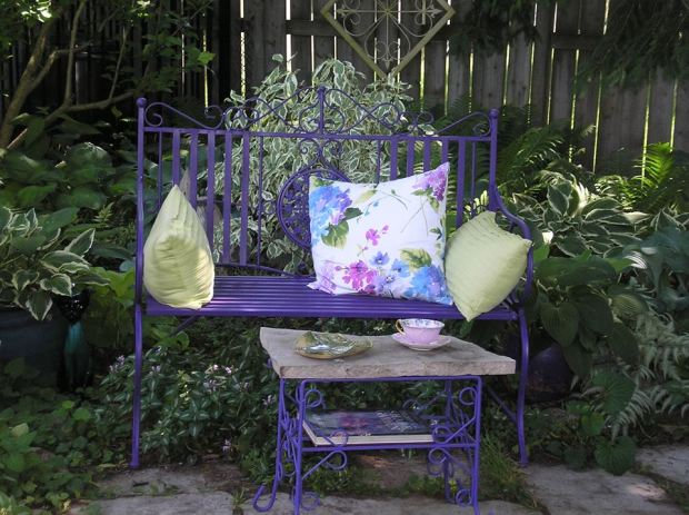 purple garden bench