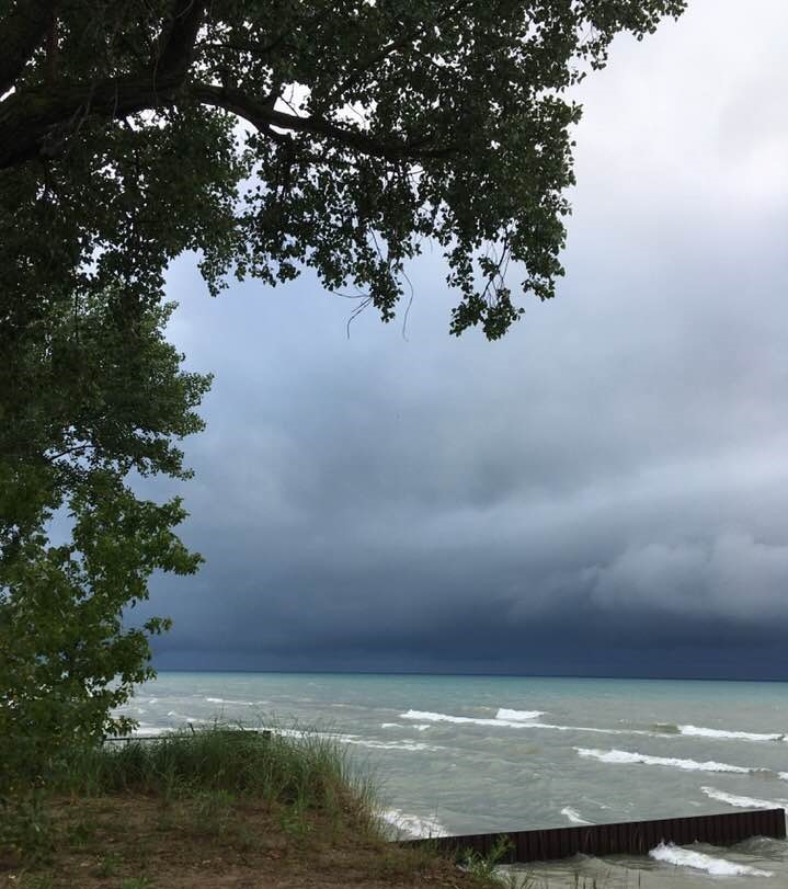 summer storm over lake