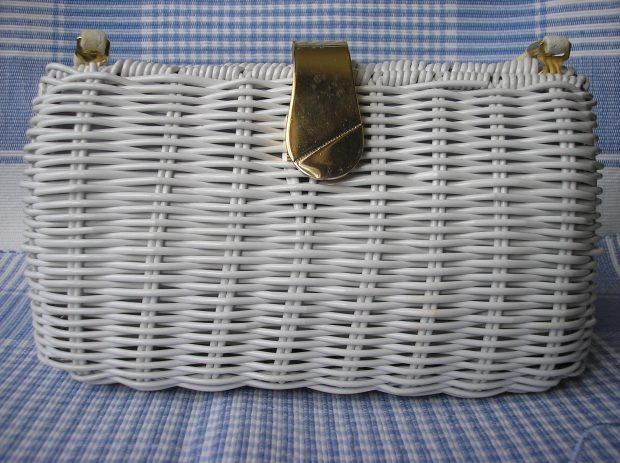 white wicker purse