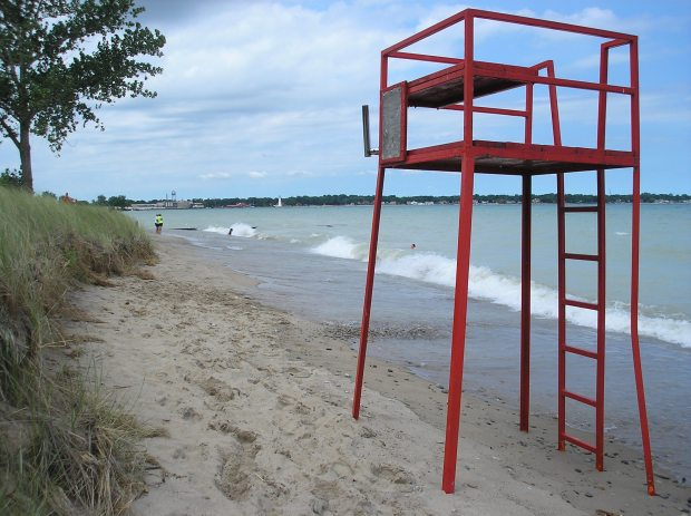 Beach and lifeguard chair