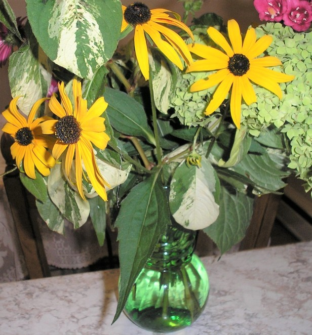 A Green Vase for Fall Flowers