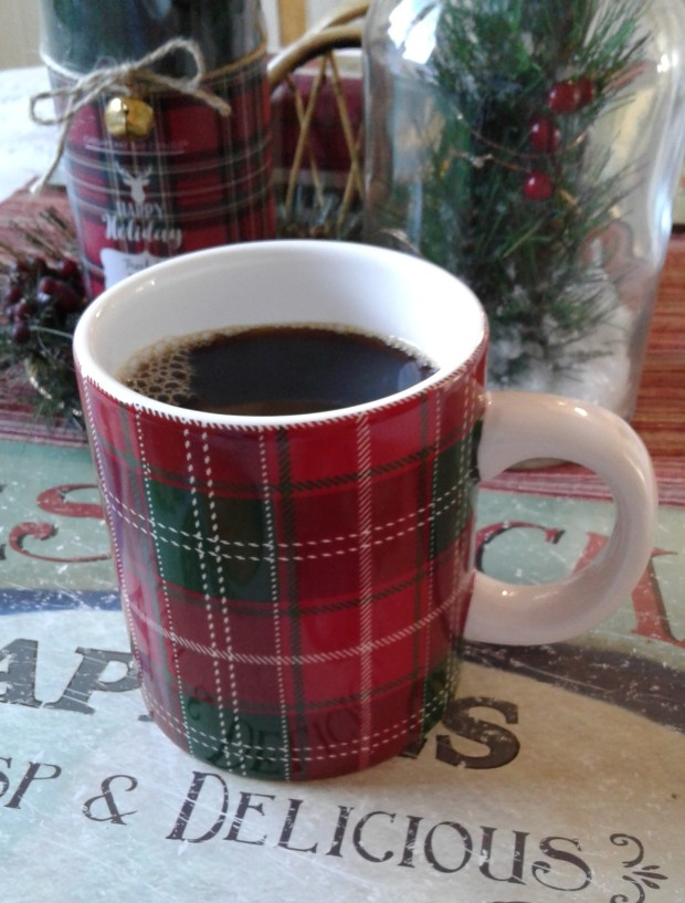 plaid coffee mug