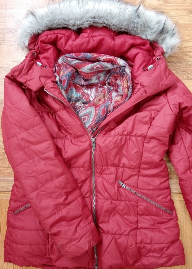 Red winter ski coat