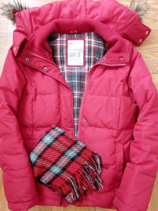 Red winter ski coat