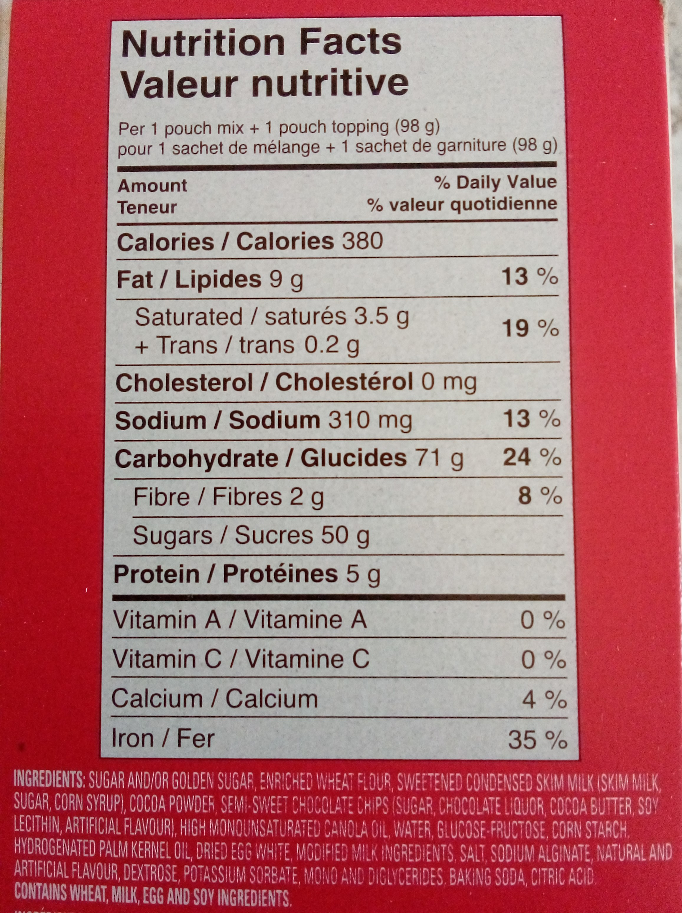 Mug cake nutrition list