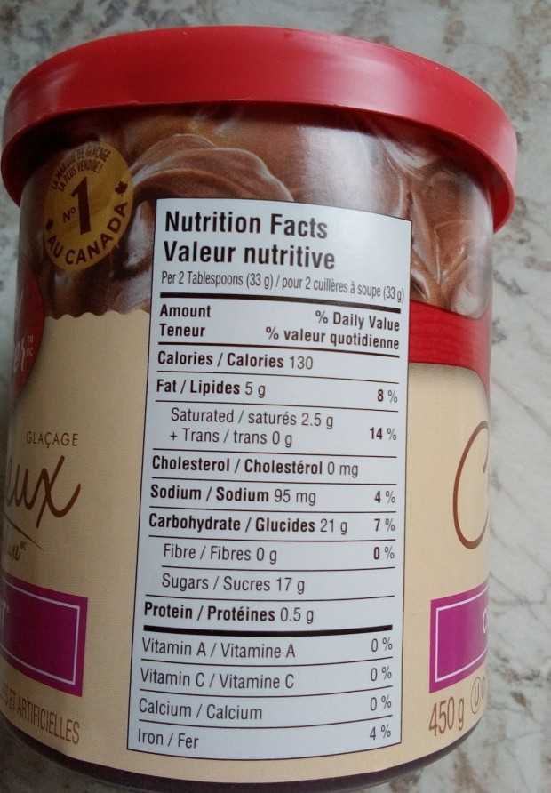 Betty Crocker icing label