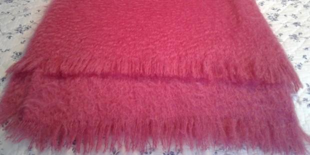 Pink mohair afghan
