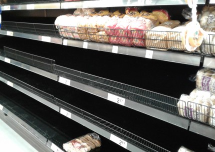 empty shelves bread grocery store