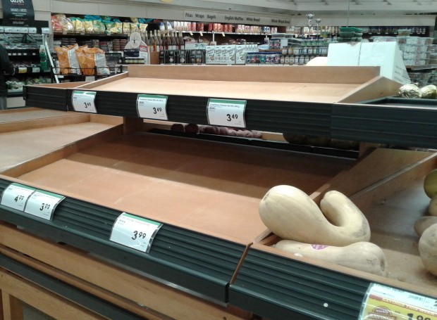 empty shelves potatoes grocery store