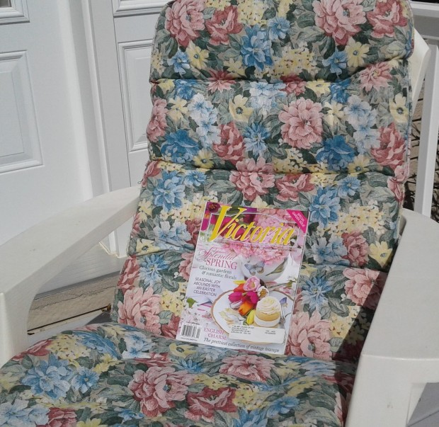 lawn chair and Victoria magazine
