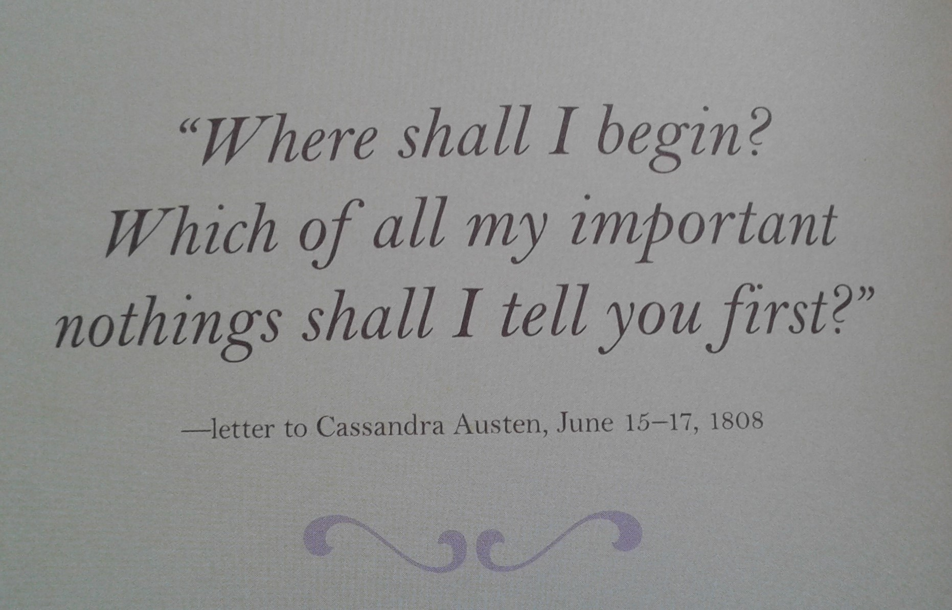 Jane Austen quote re nothings