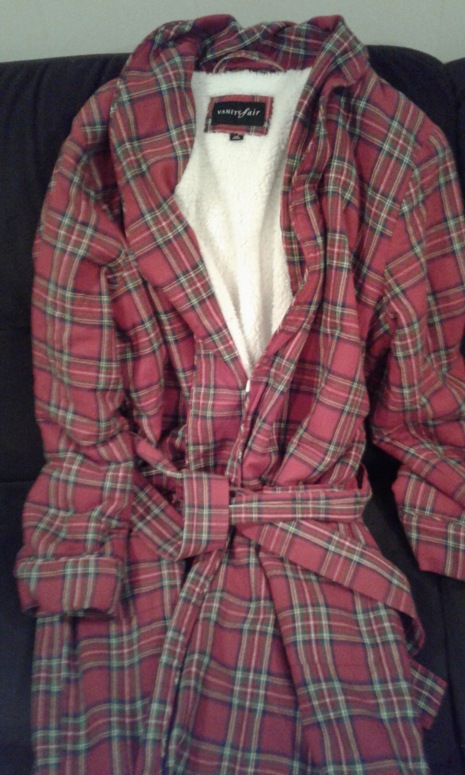 red plaid housecoat